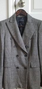 Zara wool blazer plaid double breasted 6 rare